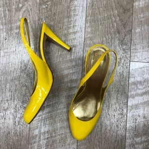 Yellow sling back j.crew heels size 9.5